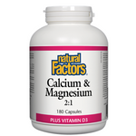 Natural Factors Calcium and Magnesium 2:1 Plus Vitamin D3 Capsules | 068958016269