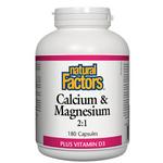 Natural Factors Calcium and Magnesium 2:1 Plus Vitamin D3 Capsules | 068958016269