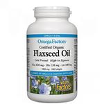 Natural Factors Certified Organic Flaxseed Oil 1000mg OmegaFactors 180Softgels | 068958022116