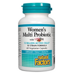 Natural Factors Women's Multi Probiotic with CranRich 12 Billion Active Cells 60 Vegetarian Capsules | 068958018492