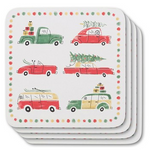 Now Designs Coasters Set of 4 Holiday Cars | 064180246344