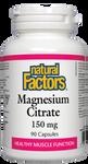 Natural Factors Magnesium Citrate 150mg Capsules | 068958016528