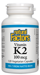 Natural Factors Vitamin K2 100 mcg Vegetarian Capsules | 068958012957