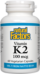 Natural Factors Vitamin K2 100 mcg Vegetarian Capsules | 068958012940
