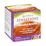 Purica Zensations Mindful Breath Lion's Mane and Cordyceps Mushroom Cacao Drink 12 Packets