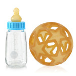 Hevea Baby Glass Bottle with Natural Rubber Cover - Blue Blue (2 Lids)   5710087080332