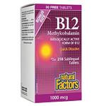 Natural Factors B12 Methylcobalamin 1000 mcg 210 Sublingual Tablets BONUS | 068958087009