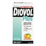 Diovol Plus Fast Acting Antacid Anti-Gas Formula - Tropical Fruit 50 Chewable Tablets | 0058738193846