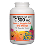 Natural Factors C 500mg 100% Natural Fruit Chew Peach, Passionfruit and Mango Chews | 068958013251