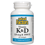Natural Factors Vitamin K and D 120 mcg and 1000 IU 60 Softgels | 068958012926