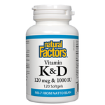 Natural Factors Vitamin K and D 120 mcg and 1000 IU Softgels | 068958012933
