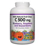 Natural Factors C 500mg 100% Natural Fruit Chew Blueberry, Raspberry and Boysenberry chews | 068958013275