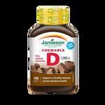 Jamieson Chewable Vitamin D 1000IU Chocolate 100 Chewable Tablets | 064642052537