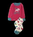 Little Blue House by Hatley Kids Applique Pajama Set Patterned Moose