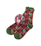 Little Blue House by Hatley Women's Socks in Ball Holiday Moose on Plaid   671374000769