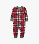 Little Blue House by Hatley Baby Union Suit Holiday Moose on Plaid - front