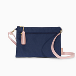 Logan and Lenora Convertible Clutch with Crossbody Strap Navy