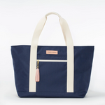 Logan and Lenora Beach Tote Navy with Blush Tassel