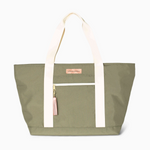 Logan and Lenora Beach Tote Olive with Blush Tassel