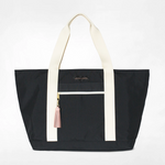 Logan and Lenora Beach Tote Black with Blush Tassel