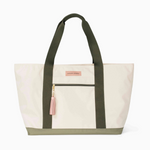 Logan and Lenora Beach Tote Natural + Olive with Blush Tassel