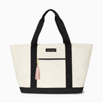 Logan and Lenora Beach Tote Natural + Black with Blush Tassel