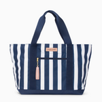 Logan and Lenora Beach Tote Cabana Stripe with Blush Tassel