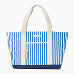 Logan and Lenora Beach Tote French Stripe with Blush Tassel