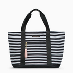 Logan and Lenora Beach Tote Audrey Stripe with Blush Tassel