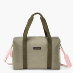 Logan and Lenora Crossbody Duffel Olive with Blush Strap