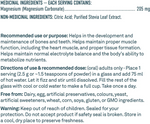 Organika Soothe - Magnesium Citrate 205mg Unflavoured 250g Supplement Facts