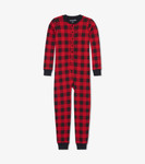Little Blue House by Hatley Kids Union Suit Moose on Plaid