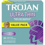 Trojan Ultra Thin Lubricated Latex Condoms 34 Count | 061700991661