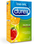 Durex Tropical Flavours and Colours Lubricated Latex Condoms 12 Count   067981058048