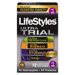 LifeStyles Ultra Trial Variety Pack 12 Lubricated Latex Condoms + 1 Ring | 070907029411