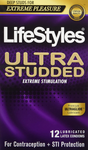 LifeStyles Ultra Studded Extreme Stimulation Lubricated Latex Condoms 12 Count | 070907009383