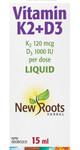 New Roots Herbal Vitamin K2 + D3 (120mcg + 1000IU per dose) Liquid 15mL   628747222358