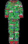 Little Blue House by Hatley Kids Pajama Set - Green Retro Christmas | PJARETO004