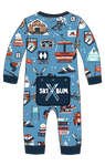 Little Blue House by Hatley Baby Union Suit - Blue Ski Holiday - back   US0SKIS010