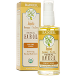 Badger Balm Jojoba with Rosemary & Tea Tree Herbal Hair Oil for Dry Scalp - Balancing Herbal Hydration 59.1mL | 634084310023