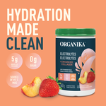 Organika Electrolytes + Enhanced Collagen - Juicy Strawberry Peach 360g - Features