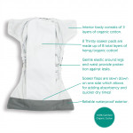 Thirsties Natural One Size All In One Hook and Loop Diaper - Aruba | 840015714703