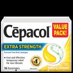 Cepacol Extra Strength Sucrose Free Honey Lemon Lozenges