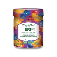 MegaFood Vitamin D3 1000 IU Wellness Gummies Mixed Fruit 70 Gummies | 051494902165