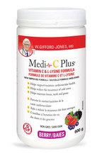 W. Gifford-Jones MD Medi-C Plus Vitamin C & L- Lysine Formula with Magnesium Ascorbate - Berry 600g | 628826005803