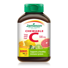 Jamieson Chewable Vitamin C 500mg - Tangy Citrus Fruit BONUS 100+20 Tablets |  064642024589