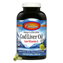 Carlson Wild Norwegian Cod Liver Oil with Low Vitamin A (230mg Omega-3s) 300 Softgels |088395013935
