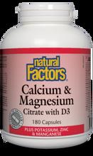 Natural Factors Calcium and Magnesium Citrate with D3 Plus Potassium, Zinc and Manganese 180 Capsules | 068958016290