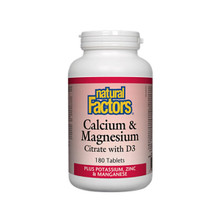 Natural Factors Calcium and Magnesium Citrate with D3 Plus Potassium, Zinc and Manganese 180 Tablets | 0068958016085