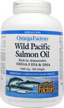 Natural Factors OmegaFactors Wild Pacific Salmon Oil 1000mg 180 Softgels | 068958022574